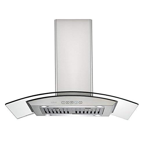 Zuhne iChorus 36 inch Kitchen Island Ducted/Ductless Stainless Steel Range Hood or Stove Vent with Energy Saving Touch Control & LED Lights