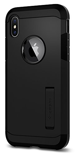 Spigen Tough Armor iPhone X Case with Kickstand and Extreme Heavy Duty Protection and Air Cushion Technology for Apple iPhone X (2017) - Matte Black