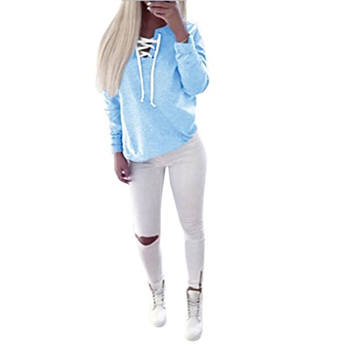 Gaxu Frauen Herbst Langarm-Pullover Tops Blusen beiläufige Sport T-Shirt (S, Blau)