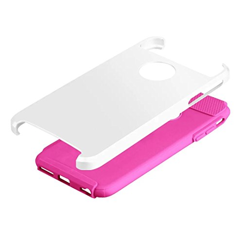 "iPhone 6 Plus Coque,iPhone 6S Plus Coque,Lantier Simple Series 2 en 1 double couche hybride dur antichoc Cover Protect pour Apple iPhone 6 Plus,iPhone 6S plus 5.5""White + Hot Pink"