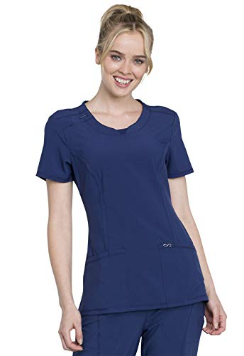 Cherokee Women's Infinity Crew Neck Scrubs Shirt, Navy, Medium from Cherokee