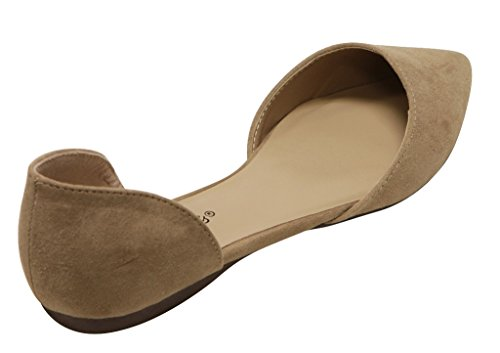 Breckelles Dolley 52 Womens DOrsay Flat Almond Pointed Toe Slip On Suede Natural ggySoN