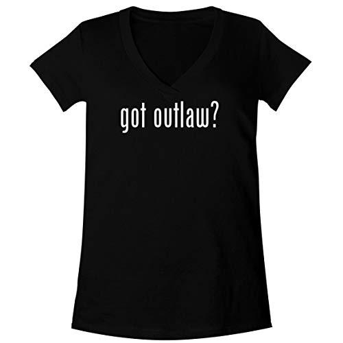 The Town Butler got Outlaw? - A Soft & Comfortable Women's V-Neck T-Shirt, Black, -