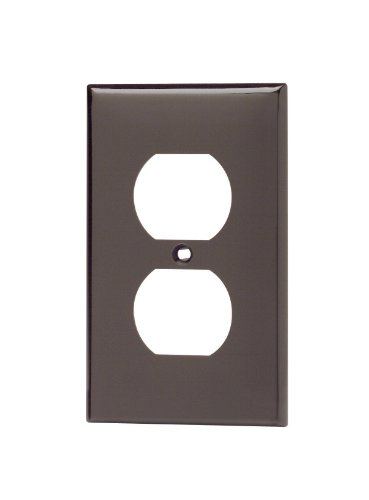 Leviton 80703 1-Gang Duplex Device Receptacle Wallplate, Standard Size, Thermoplastic Nylon, Device Mount, Brown (Plate Wall Brown)
