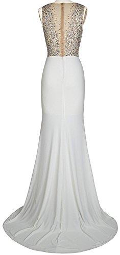 besetzte Abendkleider Damen Pailetten Line BallKleider Brautjungfernkleider Festkleider White A Lang BBqIF