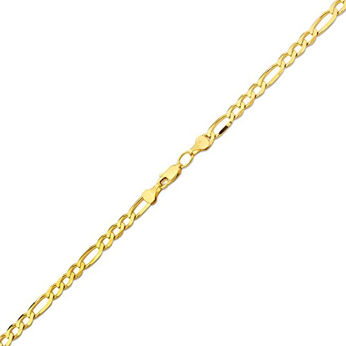 10K Yellow Gold 5.5mm Solid Figaro Chain Necklace (24 inches) by LOVEBLING (Image #1)