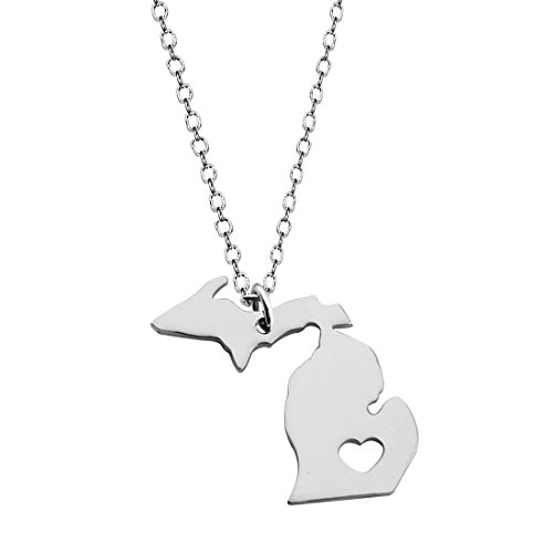 (KUIYAI Country Map Charm Pendant State Shaped Necklace with a Heart (Silver)