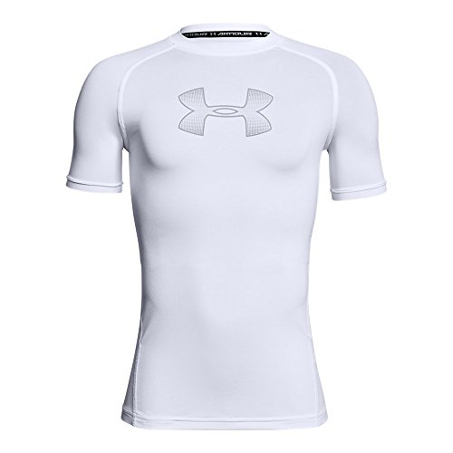 c5ef759f66 Under Armour Boys Heatgear Armour Short Sleeve Fitted Shirt, White  (101)/Overcast Gray, Youth Large