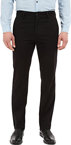 Dockers Men's Easy Khaki D1 Slim-Fit Flat-Front Pant, Black, 29W x 32L -
