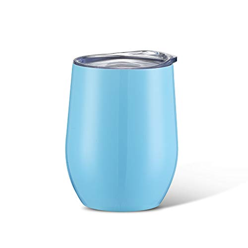 12oz Insulated Wine Cups Premium Stainless Steel Glass Tumbler, Stemless Wine Tumbler Double Wall Vacuum Mug with Lid for Adults,Unbreakable and Portable for Coffee,Cocktaill,Champagne,Drinks,5 Colors