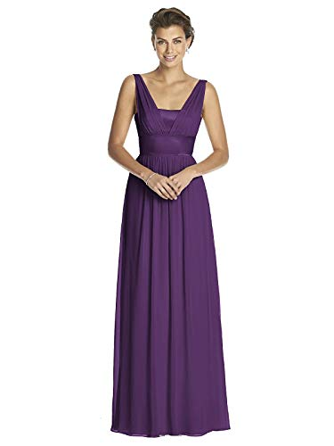 (Women's Full Length Chiffon Dress with V-neck and Matte Satin Bodice by Dessy - Majestic - Size 16)