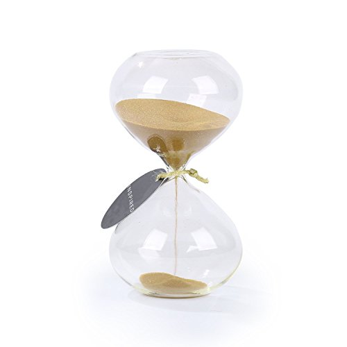 SWISSELITE BILOBA Puff Sand Timer/Hourglass (6.3 Inch,60 Minutes(+/- 360 seconds), Gold) (Accent Pieces Home)