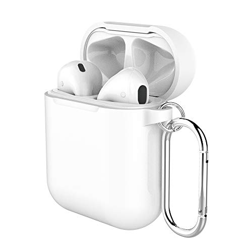(Airpods Case-erwubala Airpods Silicone Cover and Skin with Carabiner/Keychain for Apple Airpods 1&2 (White))