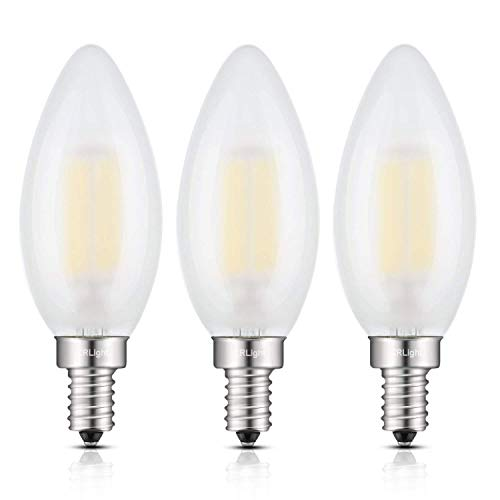 CRLight 6W 4000K LED Candelabra Bulb Daylight White 600LM, 60W Incandescent Equivalent, Replace 12W Compact Fluorescent CFL Bulbs, E12 Base Dimmable C35 Frosted Glass Torpedo Candle Bulbs, Pack of 3