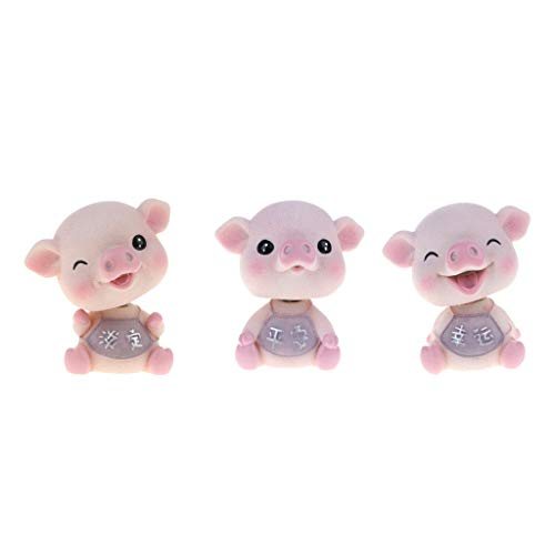 - DYNWAVE Resin Shaking Head Pig Piggy Bobble Head Animal Model,Pack of 3pcs, Car Vehicle Dashboard Decors, Dollhouse Miniature Pets