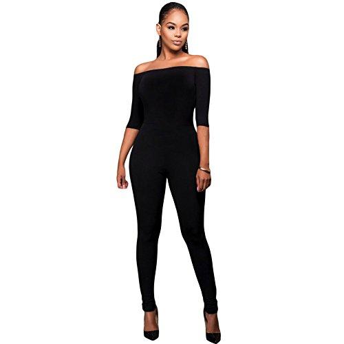 Byy Bardot Neckline Fashion Jumpsuit Black L