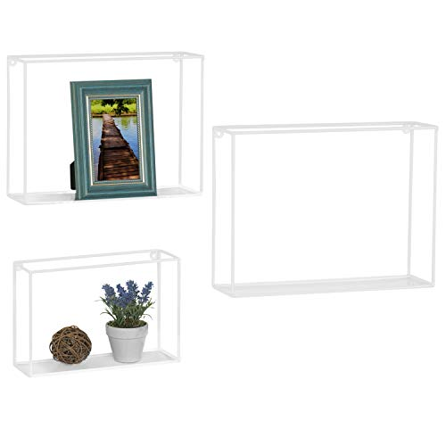 White Wire Frame - MyGift Set of 3 Metal Wire Wall-Mounted Decorative Cube Hanging Shelves,White