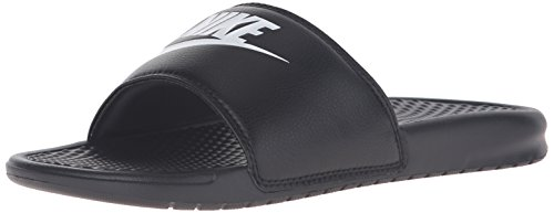 NIKE Men's Benassi Just Do It Slide Sandal, Black/White, 14 D(M) (Nike Lightweight Sandals)