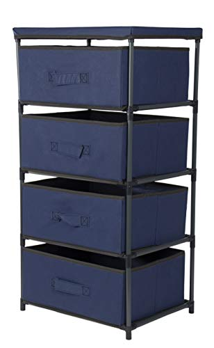 Juvale 4-Layered Storage Bin Cabinet Drawer for Clothing, Underwear, Documents, Household Objects - Navy Blue, 16.5 x 13 x 33 inches