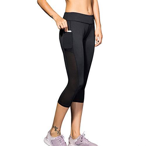 Yoga Pants, High Waist Fit Compression Leggings Workout Pants, Tummy Control Running Stretch Pocket (Black-01, Large)]()