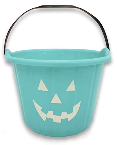 Teal Trick or Treat Pumpkin Halloween Bucket - 9 Inch Allergy and Gluten Friendly Jack-O-Lantern Candy -