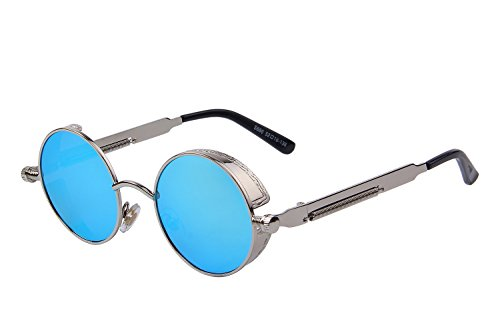 MERRY'S Gothic Steampunk Sunglasses for Women Men Round Lens Metal Frame S567(Silver&Blue, - Best Men With Face For Sunglasses Round