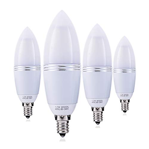 YRLighting Electrophoretic E12 LED Bulbs, 12W LED Candelabra Bulb 100 Watt Equivalent, 1200lm, Decorative Candle Base E12 Non-Dimmable LED Chandelier Bulbs, Daylight White 6000K LED Lamp, Pack of 4