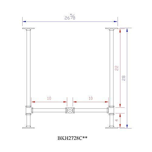 H28'', Rusty Design, BKH2728C58 Pipe Legs KIT with Cross Bar for Dining Table, H shape, L58'' x W27'' x H28'', Pack suitable for 1 Table
