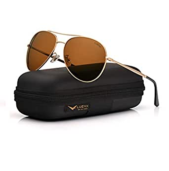 LUENX Men Women Aviator Sunglasses Brown Polarized Mirrored with Accessories Metal Frame UV 400 60MM