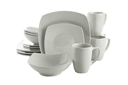 Gibson Home Zen Buffet Dinnerware Set, Service for 4 (16pcs), White (Square)