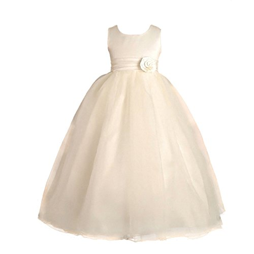 Dressy Daisy Girls' Empire Waist Wedding Flower Girl Dresses Pageant Party Dress Size 7 Ivory