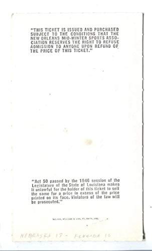 1974 Sugar Bowl Ticket Nebraska Cornhuskers v Florida Gators 12/31 x/MT 43792