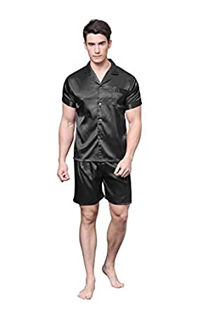 TONY & CANDICE Men's Satin Pyjama Set Short Sleeve Sleepwear/ Nightwear … (Medium, Black)