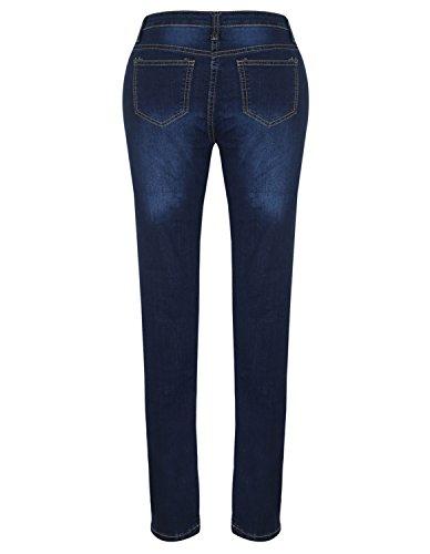 Burvogue Mujer Azul Denim Jeans Skinny pantalones de envejecido 90133 Dark blue