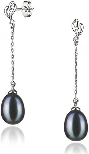 8mm Black Cultured Pearl Earrings - 8