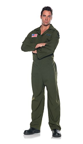 Men's Air Force Costume - Jumpsuit, Dark Green, One Size