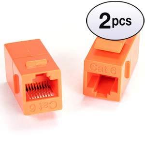 GOWOS (2 Pack) Cat.6 Inline Coupler w/Keystone Latch Orange