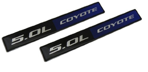 2 x (pair/set) Blue Black 5.0L Coyote 4951cc Engine Swap Fender Hook Trunk Emblem Badge for Ford Mustang V8 & F150 (Ford Engines Crate Mustang)