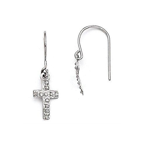14k Diamond Fascination Cross - 14k White Gold Diamond Fascination Cross Earrings, Diamond CTW 0.01