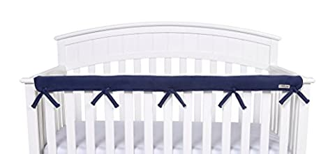 Trend Lab CribWrap Narrow 1 Long Fleece Rail Cover, Navy - Crib Teething Rail Cover