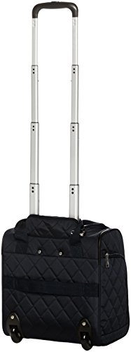 AmazonBasics Underseat Carry On Rolling Travel Luggage Bag - Black Quilted