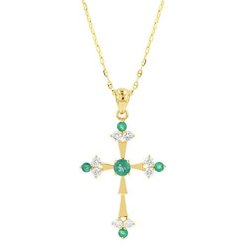 Olivia Paris 14k Yellow Gold Emerald and Diamond Cross Pendant Necklace (1/3 cttw, H-I, I1), 18
