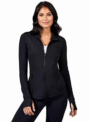Yogalicious Womens Ultra Soft Lightweight Full Zip Yoga Jacket with Zipper Pockets - Black - Large (Danskin Now Womens Full Zip Performance Jacket)