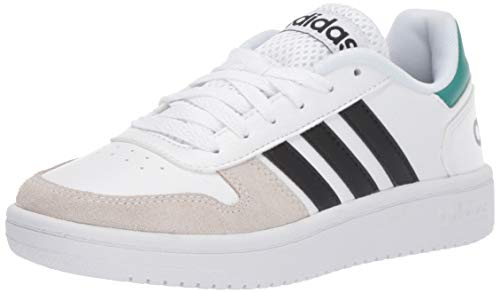 adidas Men's Hoops 2.0 Sneaker, White/Black/Active Green, 10.5 M US