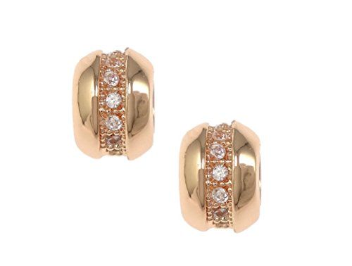 (jennysun2010 5x7mm Single Row Zircon Gemstone Cubic Zirconia Pave Wheel Beads Bracelet Connector Charm Beads Clear on Rose Gold 2 pcs per Bag for Necklace Earrings Jewelry Making Crafts)