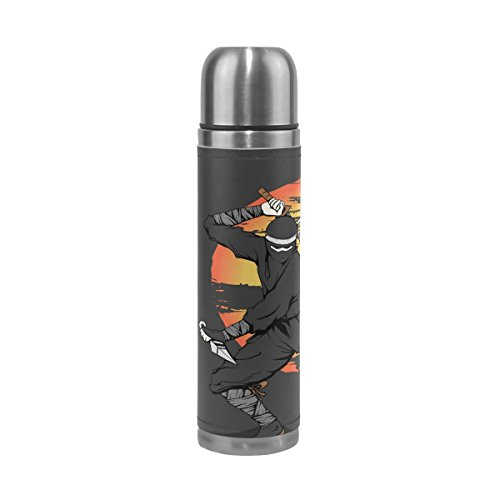 Sunlome Japanese Ninja Pattern Double Wall Vacuum Cup Insulated Stainless Steel Water Bottle Travel Mug Thermos Coffee Cup 17 oz by Sunlome