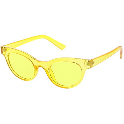 sunglassLA - Women's Transparent Cat Eye Sunglasses Horn Rimmed Color Tinted Round Lens 47mm (5 - Yellow / - Lenses Yellow Sunglasses
