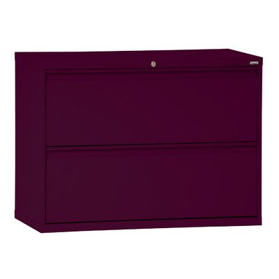 "Sandusky Lee LF8F362-03 800 Series 2 Drawer Lateral File Cabinet, 19.25"" Depth x 28.375"" Height x 36"" Width, Burgundy"