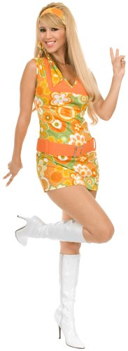 [Charades Costumes - San Francisco Girl Orange Adult Costume - Small] (60s Mod Girl Costumes)