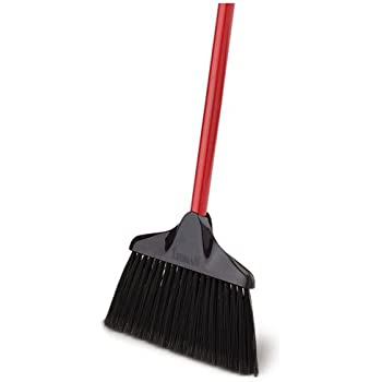 Steel Handle Libman Commercial 1102 Rough Surface Angle Broom Pack of 6 15 Wide Red Handle and Gray Bristles